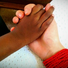 My host brother and I, holding hands at church <3