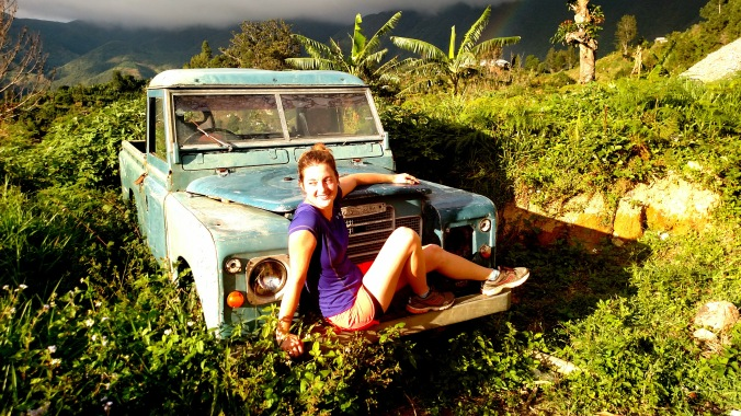 Sittin' pretty before hiking up Jamaica's highest mountain :)